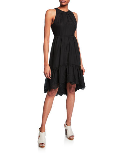 High-Neck Sleeveless High-Low Georgette Dress w/ Embroidered Hem