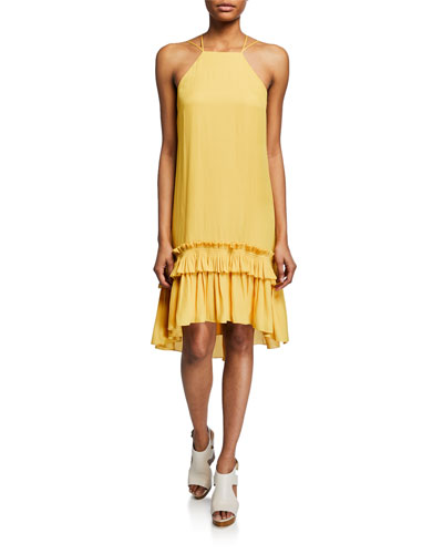 Sleeveless Halter Dress with Pleated Ruffle High-Low Hem