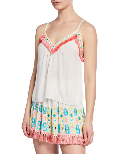 Madge Embroidered Fringe Tank