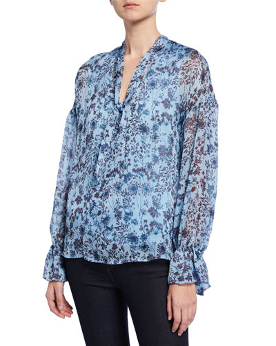 Printed Tie-Neck Long-Sleeve Jersey Lined Silk Blouse