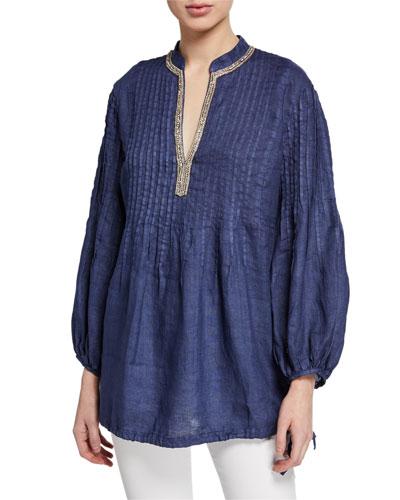 Mandarin Collar Long-Sleeve Pintucked Poet Shirt w/ Drawstring Hem