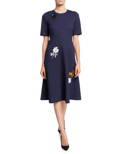 Embellished Short-Sleeve Ponte Dress