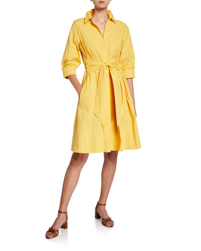 3/4-Sleeve Tie-Front Stretch-Cotton Dress