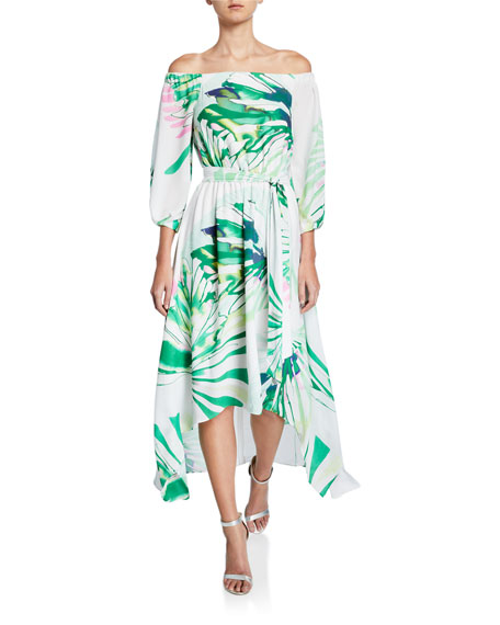 Josie Natori Palm-Printed Off-the-Shoulder High-Low Maxi Dress