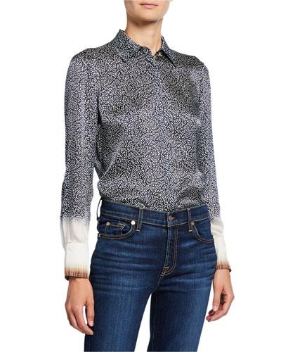 Printed Silk Satin Long-Sleeve Shirt