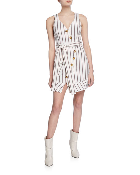 Derek Lam 10 Crosby Belted Asymmetrical Placket Dress
