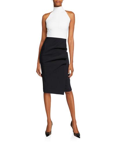 Sabinka Colorblock Halter Dress w/ Ruched Skirt