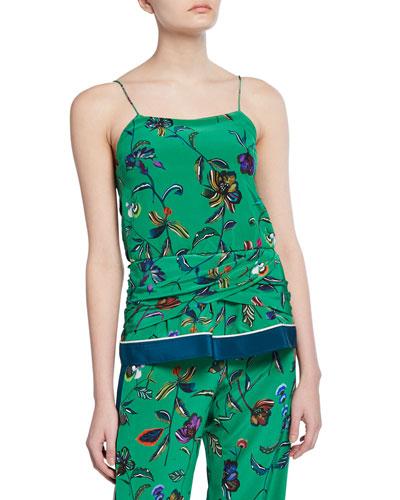 Floral-Print Twist-Waist Silk Camisole