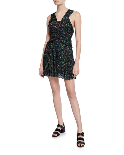 Printed Sleeveless Ruched Pleated Mini Dress