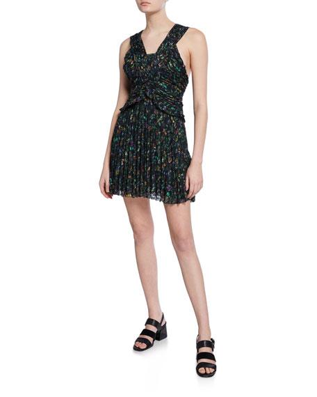 Derek Lam 10 Crosby Printed Sleeveless Ruched Pleated Mini Dress