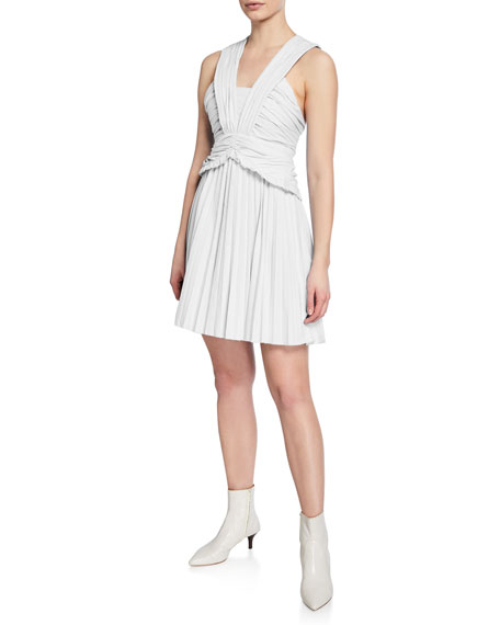 Derek Lam 10 Crosby Ruched Pleated Mini Dress