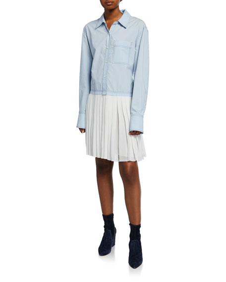 Derek Lam 10 Crosby Long-Sleeve Mixed Media Shirtdress with Pleated Hem