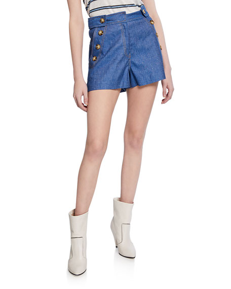 Derek Lam 10 Crosby Chambray Shorts with Sailor-Button Detail