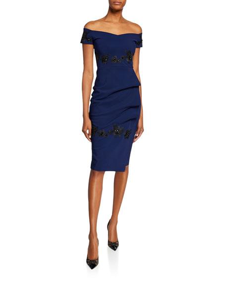 Chiara Boni La Petite Robe Thira Off-the-Shoulder Cap-Sleeve Cocktail Dress
