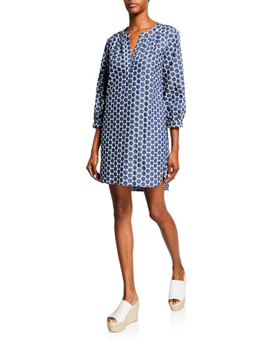 Chloe Denim Dot 3/4-Sleeve Dress w/ Pockets