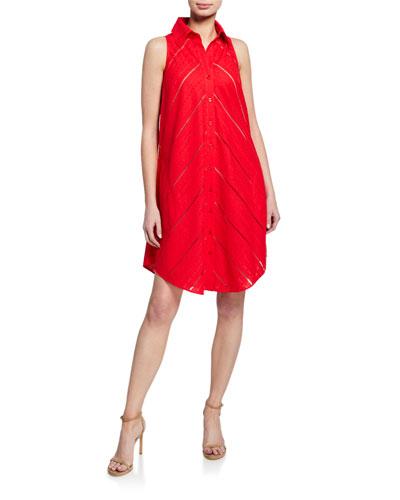Shelly Eyelet Sleeveless Dress w/ Mesh Slip & Button-Back