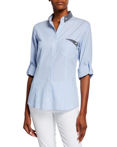 Mr French Striped Button-Down Shirt w/ Preppy Dot Trim