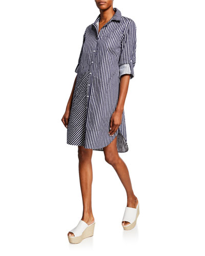 Bailey Mitered Stripe Button-Down Shirtdress