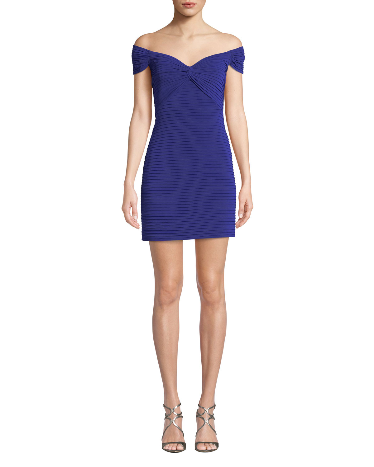 Tadashi Shoji Dresses OFF-THE-SHOULDER PINTUCK COCKTAIL DRESS