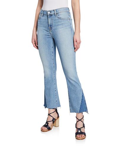 High Waist Slim Kick Cropped Jeans