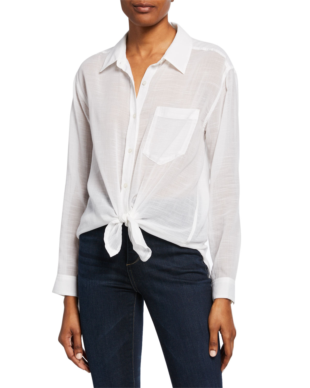 7 For All Mankind T-shirts BUTTON-DOWN KNOT-FRONT LONG-SLEEVE COTTON/LINEN SHIRT