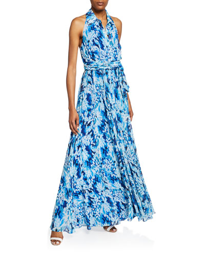 Printed Button-Front Halter Shirt Gown