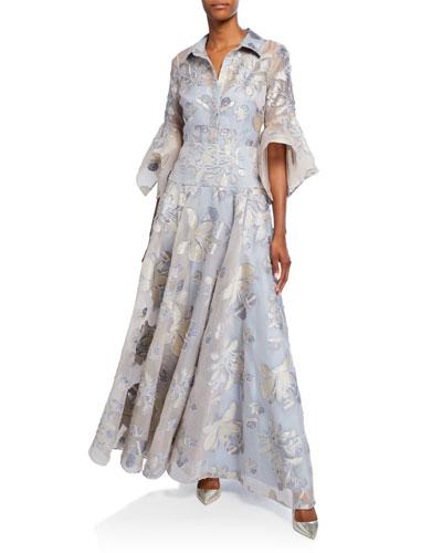 Floral Organza Stripe Shirt Trumpet-Sleeve Gown