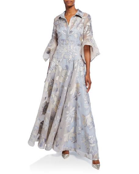 Badgley Mischka Collection Floral Organza Stripe Shirt Trumpet-Sleeve Gown