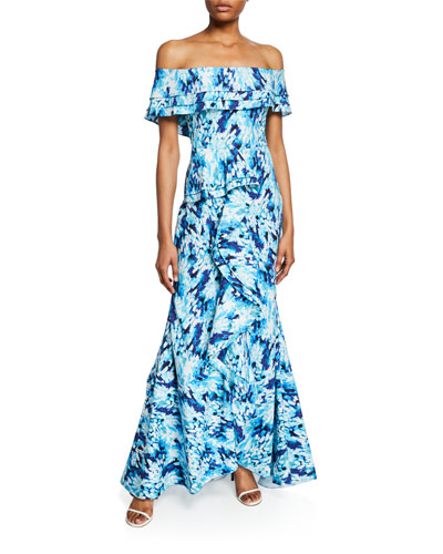 Printed Off-the-Shoulder Tiered Ruffle Mermaid Gown