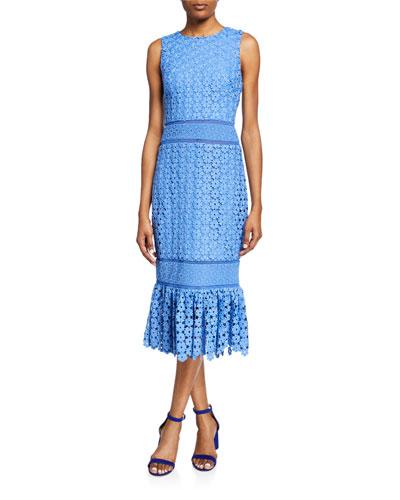 Sleeveless Combo Lace Sheath Dress