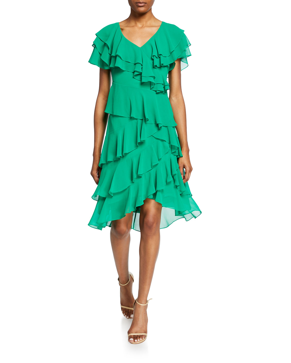 Badgley Mischka Dresses CATTIVA V-NECK SHORT-SLEEVE HIGH-LOW TIERED RUFFLE DRESS