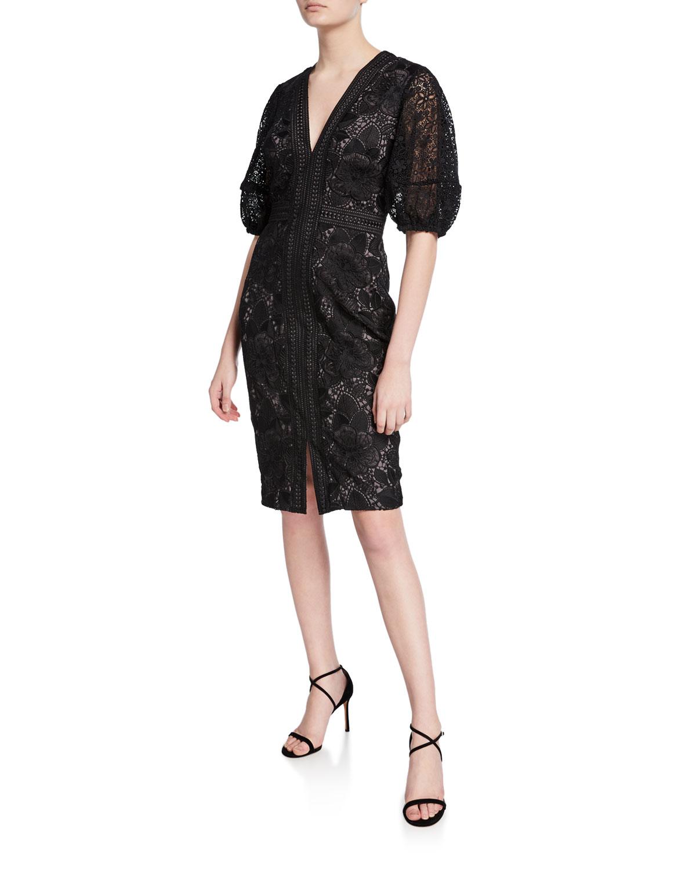 Badgley Mischka Dresses V-NECK BLOUSON-SLEEVE LACE SHEATH DRESS
