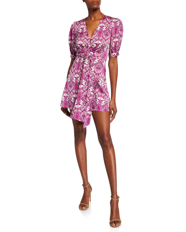 Alexis Dresses PRINTED V-NECK DRESS W/ TIE & BUTTONS
