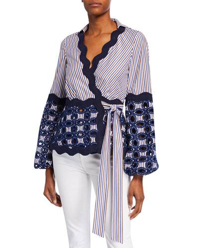 Myrna Striped Embroidered Tie Top