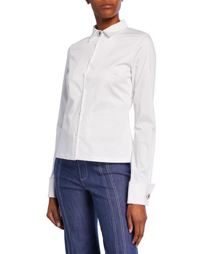 Roxanne Button-Front Stretch-Cotton Top