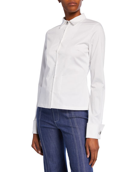 Alexis Roxanne Button-Front Stretch-Cotton Top