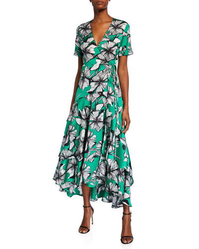 Deanna Floral-Print Short-Sleeve Wrap Dress