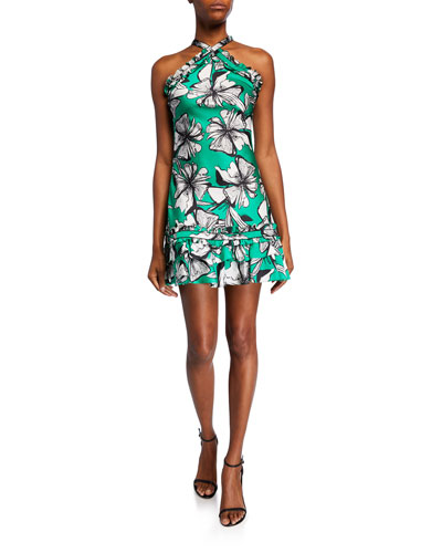 Erika Floral-Print Mini Halter Dress