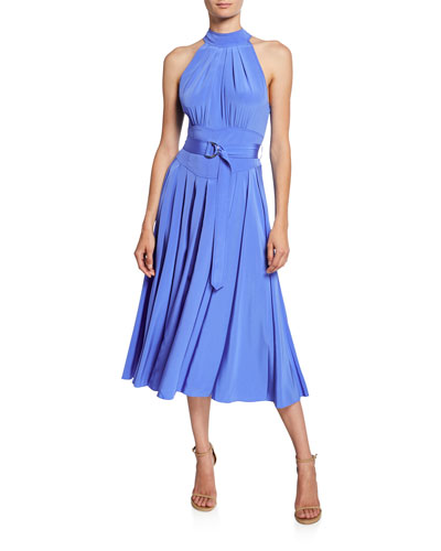 Nicola Silk Midi Halter Dress
