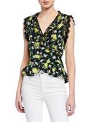 Diane von Furstenberg Peona Lemon-Print Sleeveless Peplum Top