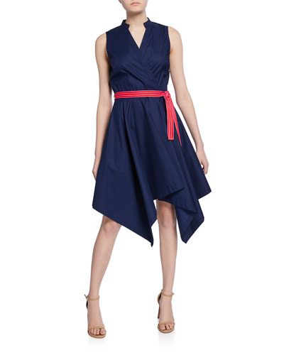 Marlene Sleeveless Poplin Wrap Dress