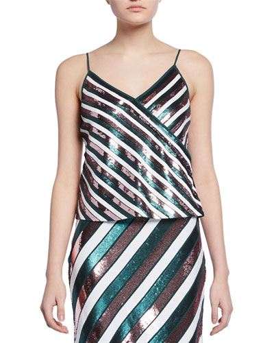Agnes Sequin Stripe Silk Camisole