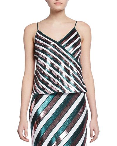 Agnes Sequin Stripe Silk Camisole