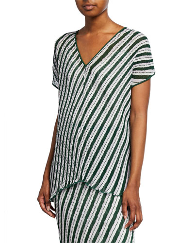 Jolene Pleated Stripe Short-Sleeve Top