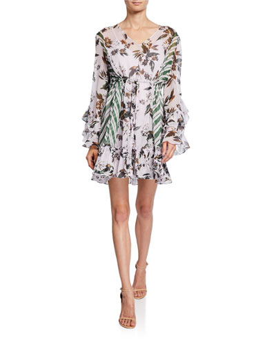 Harlow Printed Long-Sleeve Ruffle Mini Dress