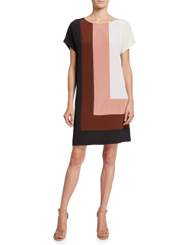 Danika Colorblock Silk Shift Dress