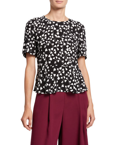 Orilla Short-Sleeve Printed Peplum Top