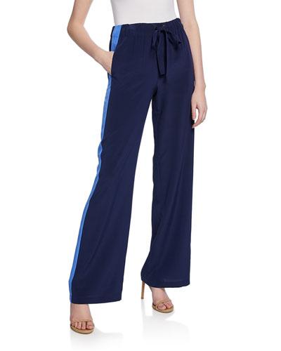 Ellington Silk Track Pants with Side Stripes