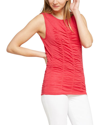 Ruched Sleeveless Sweater Top