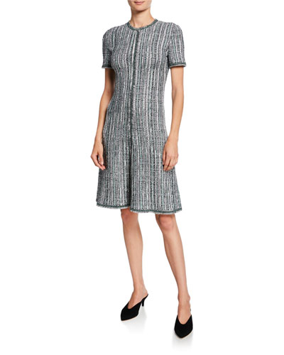 Short-Sleeve Ribbon Textured Inlay Tweed Dress with Fringe Trim